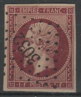 "FRANCE YVERT 18d SCOTT 21c "" NAPOLEON 1F RE-ISSUE 1862 FORGED CANCEL "" VVF P193"