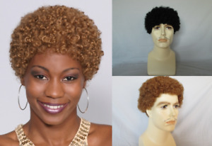 70S 80S MENS WOMEN MALE DISCO SHORT TIGHT SMALL CURLS AFRO WIG JERRY JHERI CURL