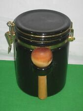 Black Ceramic Canister Wire Locking Lid with Wood Spoon Measurer