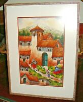 Spanish Mexican Painting Signed Contreras Village Church Scene Colorful Framed