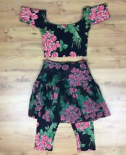 VTG RARE Betsey Johnson Outfit Crop Top Leggings Skirt Floral Punk Label Size S