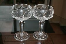 Pair of two vintage hand made cut glass champagne saucers