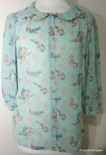 PHASE EIGHT Green Blue & Pink Bird Pattern Blouse Top - Size 10 / 12