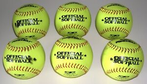 LOT ~ (6) Powerbolt Official League Optic Yellow Softballs ~ Barely Used