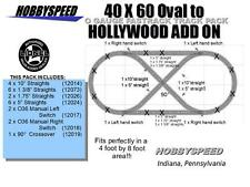 LIONEL FASTRACK 40X60 OVAL TO A HOLLYWOOD TRACK LAYOUT SET ADD-ON-PACK layout