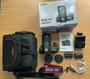 Canon EOS 70D 20.2MP Digital SLR Camera Black with 18-55mm STM Lens PLUS Extra's