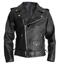 Men's Terminator Style Black Genuine Real Leather Biker Gang Slim Fit Jacket