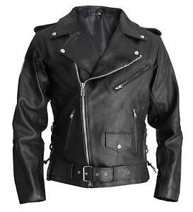 Men's Terminator Style Black Genuine Real Leather Biker Gang Slim Fit Jackets