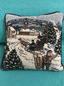 "VTG Tapestry Accent/Toss Pillow•""Whispering Pines""•Winter/Holiday Scene•12""x12"""