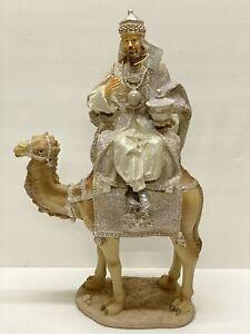 "RAZ Import 17.5"" Single Silver Wiseman King on Camel 3757939 NEW #1 Read Descrip"