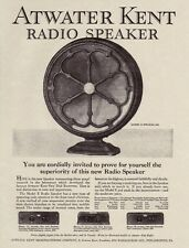 "ATWATER KENT Fan TYPE Model Radio SPEAKER Antique 1927 Prices 8.5x11"" REPRINT AD"