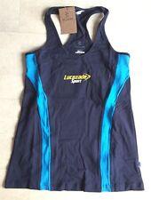 Women's Lucozade Sport Kukri Long Line Vest Top Black/Cyan Blue Size 14 BNWT