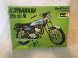 1971 REVELL KAWASAKI MACH III MODEL PLASTIC KIT H-1500 1/12 SCALE EMPTY BOX