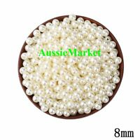 50 x beads ivory colour imitation pearl ladies girls necklace bracelet craft 8mm