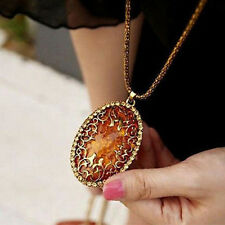 Chic Vintage Amber Hollow Long Chain Sweater Pendant Necklace Fashion Jewelry