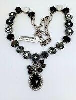 Mariana French Silk Swarovski Crystal Silvertone Necklace Oval Black Grey White