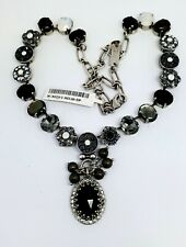 Mariana French Silk Swarovski Crystal Silvertone Necklace Oval Black Grey White