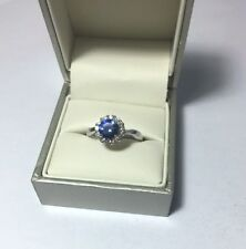10k White Gold Sapphire and Cubic Zirconia Flower Ring