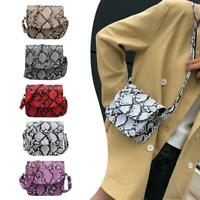 Women Shoulder Bag Snake Print  Messenger Handbag PU Leather Flap Crossbody Tote