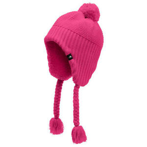 North Face Youth Junior Girl Purrl Stitch Ear Flap Beanie Pink w/ Tassels NWT