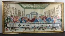 Last Supper Cross Stitch Completed Framed Jesus Disciples Christian  Vtg