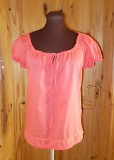 MONSOON coral orange-pink cotton summer holiday short sleeve tunic top 12 40