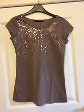 Ladies Light Brown Sequinned Cap Sleeved Top - Size Small - VGC