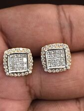Pave 1.39 Cts Princess Round Cut Natural Diamonds Stud Earrings In Fine 14K Gold