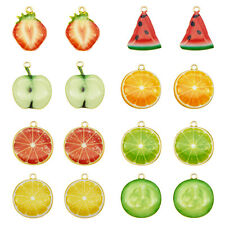 16PCS/Pack Enamel Mixed Assorted Fruit Slices Charms Pendant DIY Findings Crafts