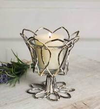 Weathered Distressed-Classic Farmhouse-Tulip Votive Candle Holder Tabletop Decor
