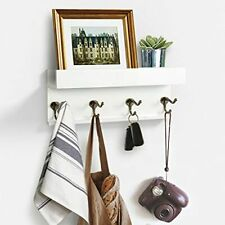 Wooden Picture Ledge with Coat Hooks Wall Mount Hanger Coat Rack Display White