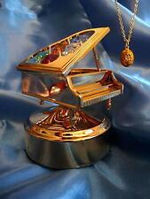 Gold Russian Empress Alexandra Music Box Piano Nutcracker & Egg Necklace