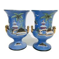 Pair Japanese Handpainted Moriage Vases Urns Japan Blue Morimura Asian Pagoda