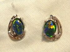 Opal Earrings 14ct White Gold & Diamond Stud.Triplet Opals 7 x5 Oval. item 60918