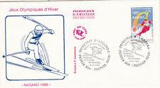 ENVELOPPE 1 er jour timbrée JEUX OLYMPIQUES D'HIVER NAGANO JAPAN 1998 SKI