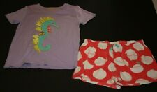 Used Mini Boden 2 Piece Top & Shorts Set 11 12 year Girls Sea Horse Tee Toweling