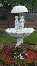 Springbrunnen Mädchen + Junge unter Schirm Zierbrunnen Brunnen