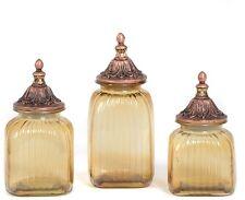 3 Set Antique Canister Set Food Storage Jar Decorative Lid Kitchen Bronze Glass