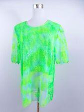 Women's Casual Short Sleeve Mesh Vtg Retro Green Tunic Blouse Oversized BD60