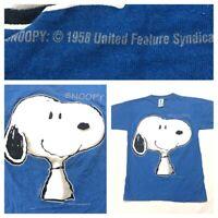 Vintage Snoopy Blue Single Stitch Tee Big Print Logo T Shirt Medium M Hoe Cool