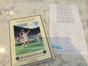Wimbledon 2005 final programme and order of play cards