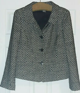 ANN TAYLOR Women's Fully Lined Fall Autumn Jacket Black White Tweed Style Sz 12