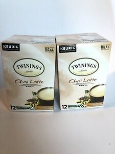 2x Twinings Chai Latte K-Cups Keurig Black Tea Sweetened Real Leaves  - 12 Ct