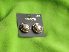 """Chicos Goldtone """"Jessica Clip"""" Faux Pearl Clip On Earrings"""