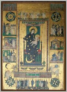 Icona serigrafia oro tavola Madonna  Maria Vergine Bambinello formelle vita Gesù
