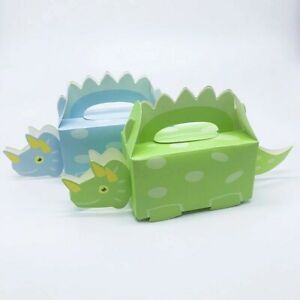 20 Cute Green Dinosaur Sweet Cone Kit Birthday Party Favour Bags Candy Box
