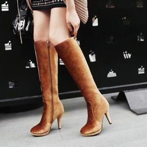 Womens Side Zip Stiletto High Heels Platform Floral Grace Knee High Casual Boots