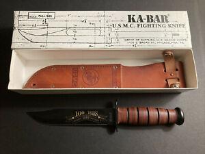 USMC KA-BAR 100 Years 1898-1998 US Marines Fighting Knife with Leather Sheath