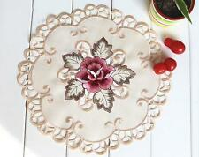 Beautiful Pink Rose Embroidery Cutwork Round Ivory Doily 30cm