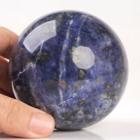621g 77mm Large Natural Blue Sodalite Quartz Crystal Sphere Healing Ball Chakra